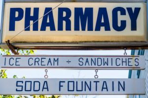 soda fountain pharmacy sign