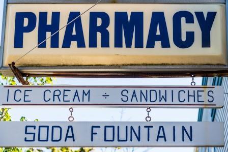 Soda fountain pharmacies
