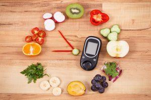 glucometer, fruits, and vegetables